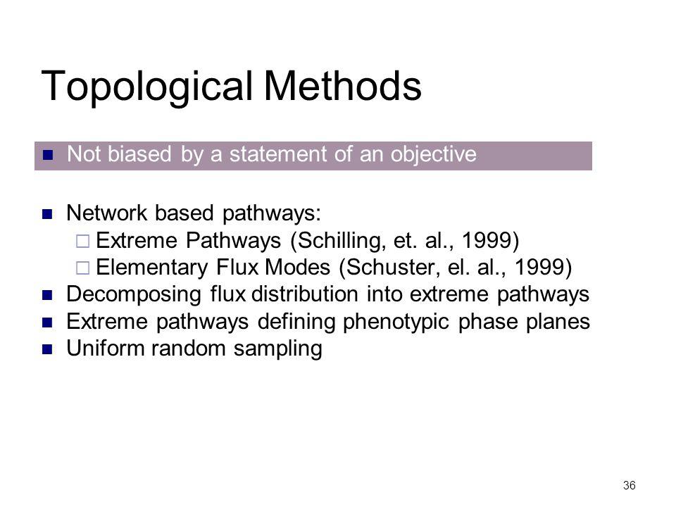 36 Topological Methods Network based pathways:  Extreme Pathways (Schilling, et. al., 1999)  Elementary Flux Modes (Schuster, el. al., 1999) Decompo