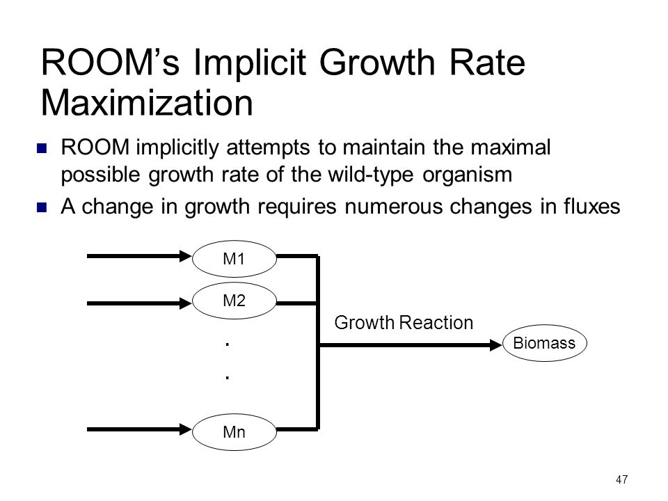 47 ROOM's Implicit Growth Rate Maximization ROOM implicitly attempts to maintain the maximal possible growth rate of the wild-type organism A change i