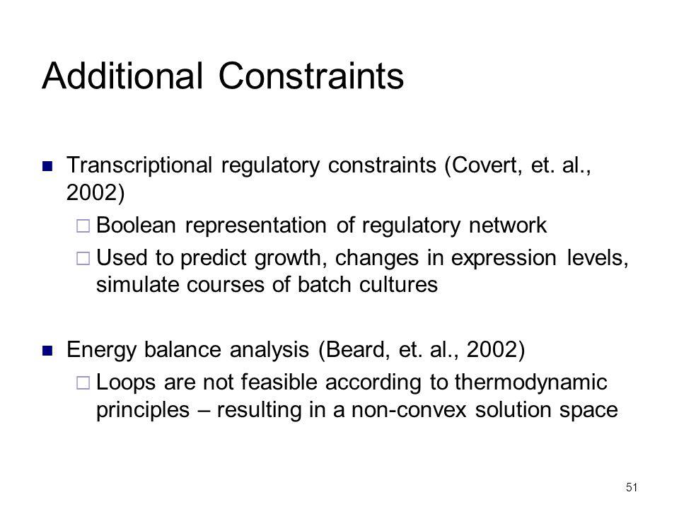51 Additional Constraints Transcriptional regulatory constraints (Covert, et. al., 2002)  Boolean representation of regulatory network  Used to pred