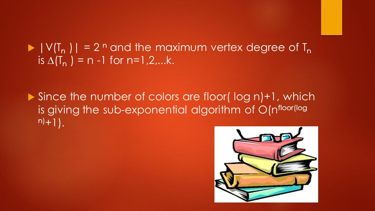  |V(T n )| = 2 n and the maximum vertex degree of T n is ∆(T n ) = n -1 for n=1,2,...k.