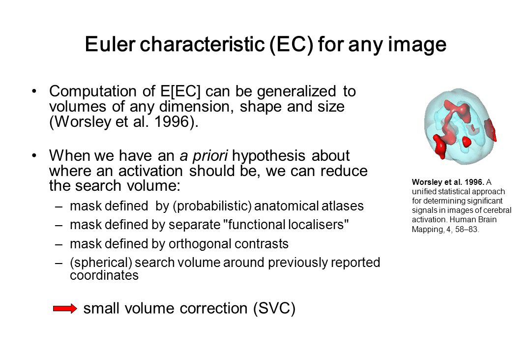 Euler characteristic (EC) for any image Computation of E[EC] can be generalized to volumes of any dimension, shape and size (Worsley et al. 1996). Whe