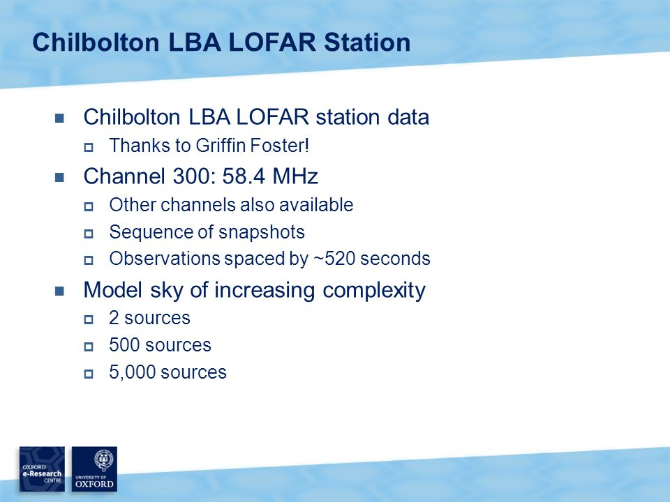 Chilbolton LBA LOFAR station data  Thanks to Griffin Foster.