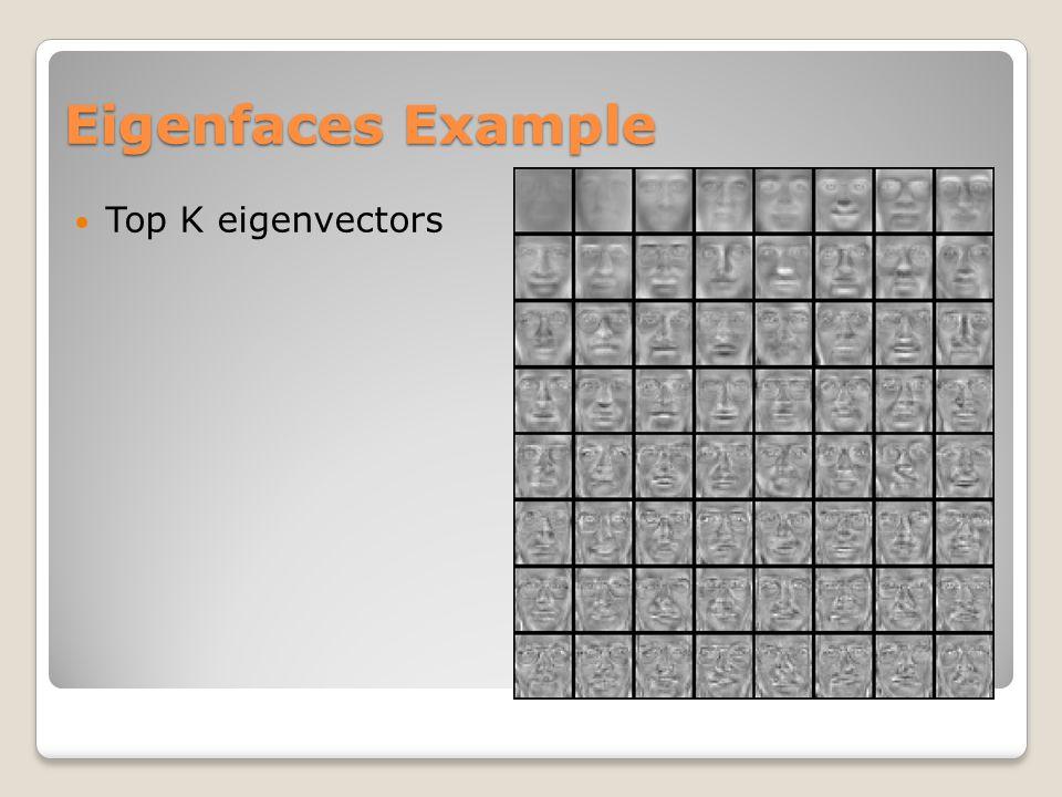 Eigenfaces Example Top K eigenvectors