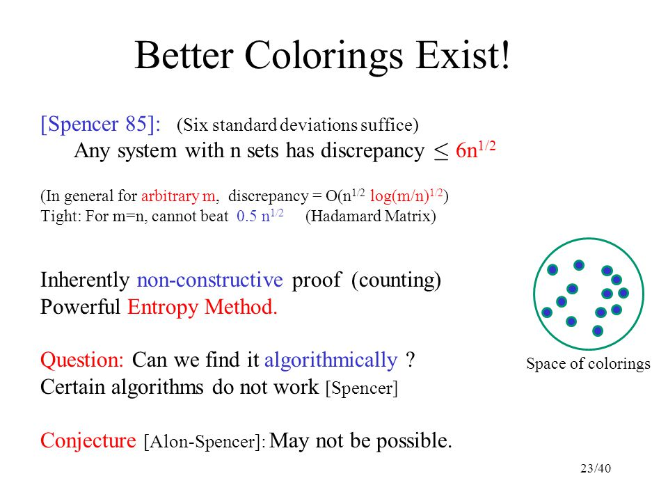 Better Colorings Exist! [Spencer 85]: (Six standard deviations suffice) Any system with n sets has discrepancy · 6n 1/2 (In general for arbitrary m, d