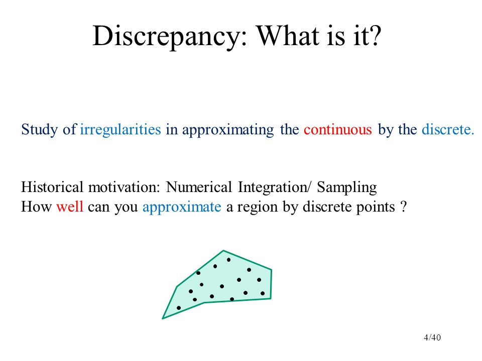 Discrepancy: What is it. Study of irregularities in approximating the continuous by the discrete.