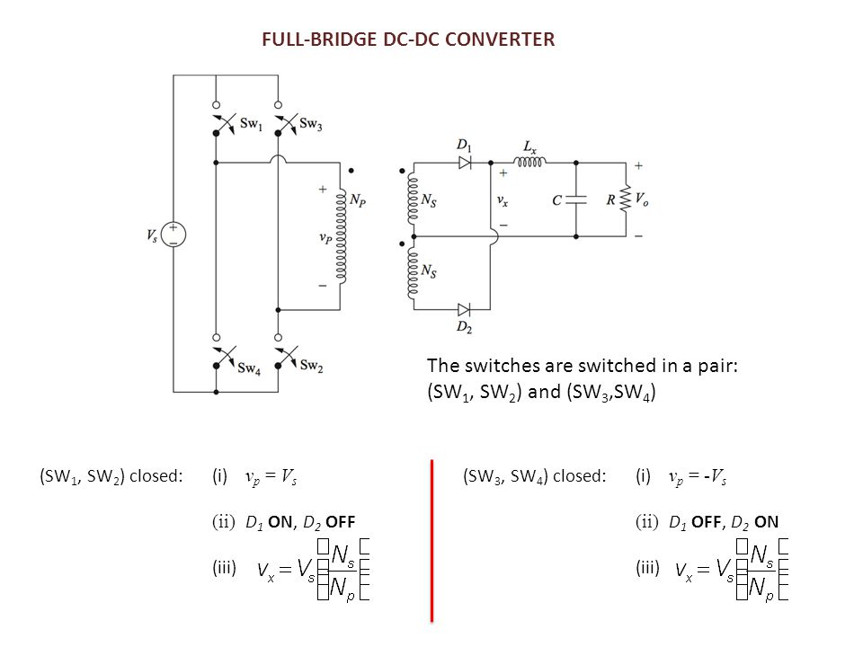 FULL-BRIDGE DC-DC CONVERTER The switches are switched in a pair: (SW 1, SW 2 ) and (SW 3,SW 4 ) (SW 1, SW 2 ) closed:(i) v p = V s (ii) D 1 ON, D 2 OF