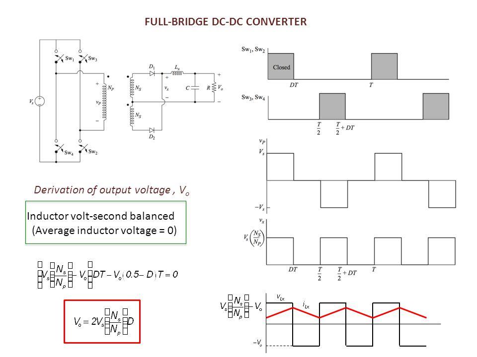FULL-BRIDGE DC-DC CONVERTER Derivation of output voltage, V o Inductor volt-second balanced (Average inductor voltage = 0)