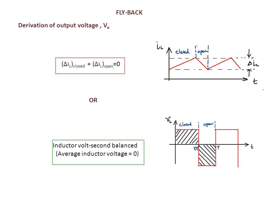 FLY-BACK (Δi L ) closed + (Δi L ) open =0 Inductor volt-second balanced (Average inductor voltage = 0) Derivation of output voltage, V o OR