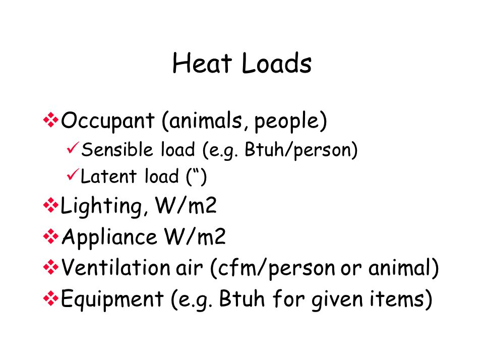 """Heat Loads  Occupant (animals, people) Sensible load (e.g. Btuh/person) Latent load ("""")  Lighting, W/m2  Appliance W/m2  Ventilation air (cfm/pers"""