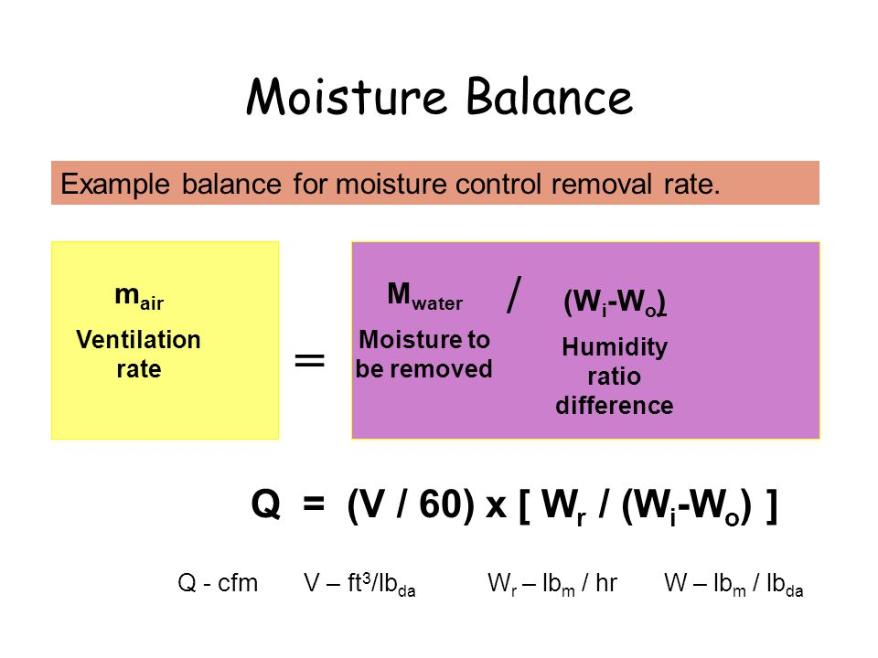Moisture Balance = m air Ventilation rate M water Moisture to be removed Example balance for moisture control removal rate.