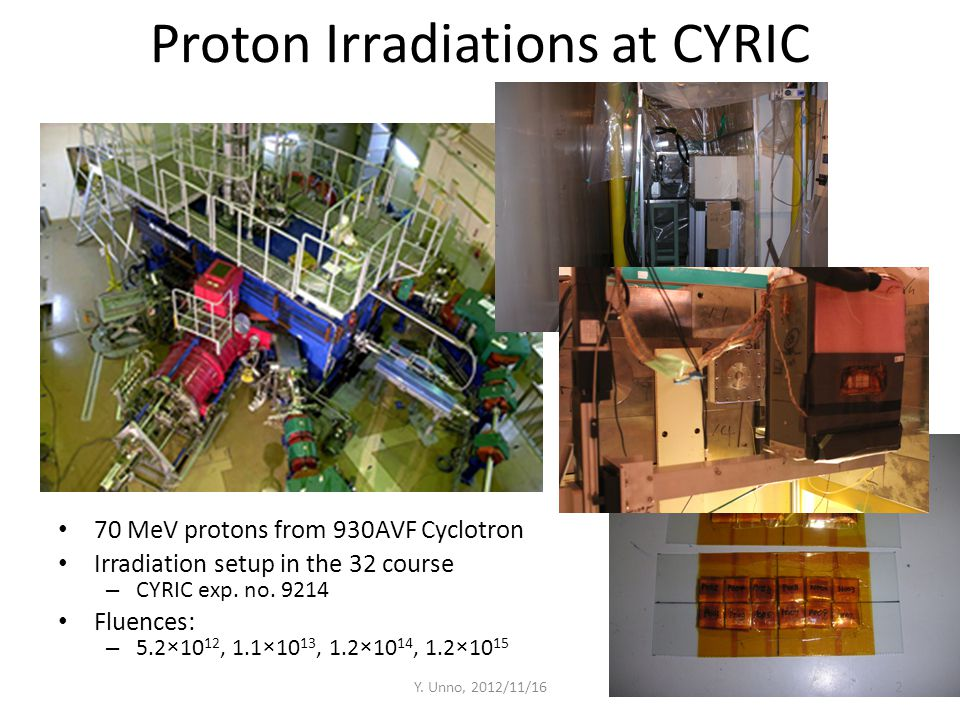 Proton Irradiations at CYRIC 70 MeV protons from 930AVF Cyclotron Irradiation setup in the 32 course – CYRIC exp. no. 9214 Fluences: – 5.2×10 12, 1.1×