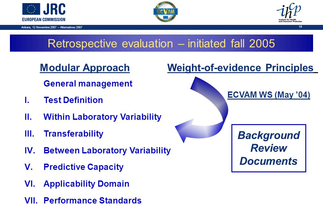 Ankara, 12 Novembre 2007 – Alternatives 2007 19 General management I.Test Definition II.Within Laboratory Variability III.Transferability IV.Between Laboratory Variability V.Predictive Capacity VI.Applicability Domain VII.Performance Standards Modular ApproachWeight-of-evidence Principles Background Review Documents Retrospective evaluation – initiated fall 2005 ECVAM WS (May '04)