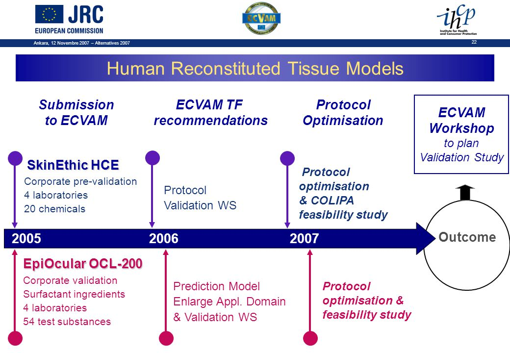 Ankara, 12 Novembre 2007 – Alternatives 2007 22 Outcome Submission to ECVAM ECVAM TF recommendations Protocol Optimisation Human Reconstituted Tissue Models 200520062007 SkinEthic HCE Corporate pre-validation 4 laboratories 20 chemicals Protocol Validation WS Prediction Model Enlarge Appl.