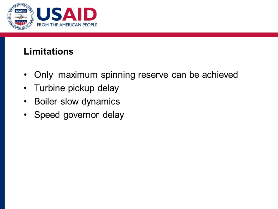 Limitations Only maximum spinning reserve can be achieved Turbine pickup delay Boiler slow dynamics Speed governor delay