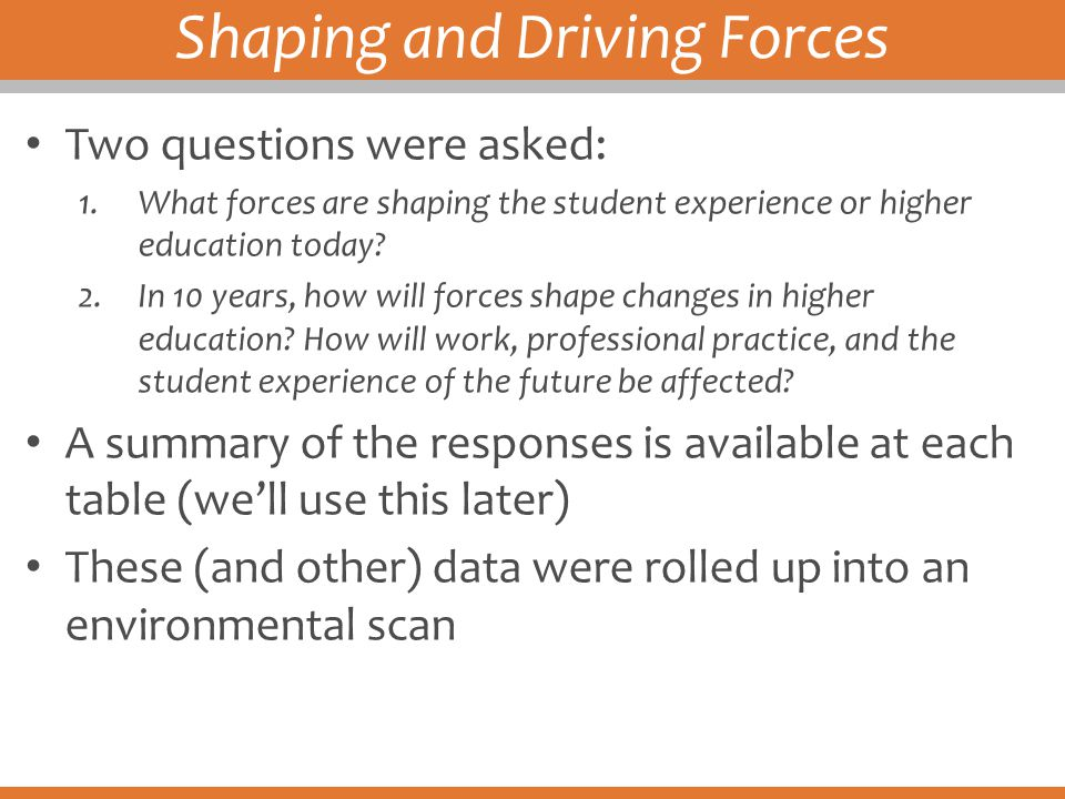 Shaping and Driving Forces Two questions were asked: 1.What forces are shaping the student experience or higher education today? 2.In 10 years, how wi