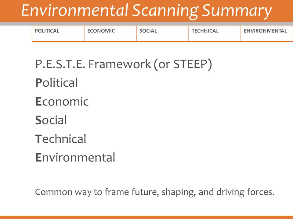 Environmental Scanning Summary POLITICALECONOMICSOCIALTECHNICALENVIRONMENTAL P.E.S.T.E. Framework (or STEEP) Political Economic Social Technical Envir
