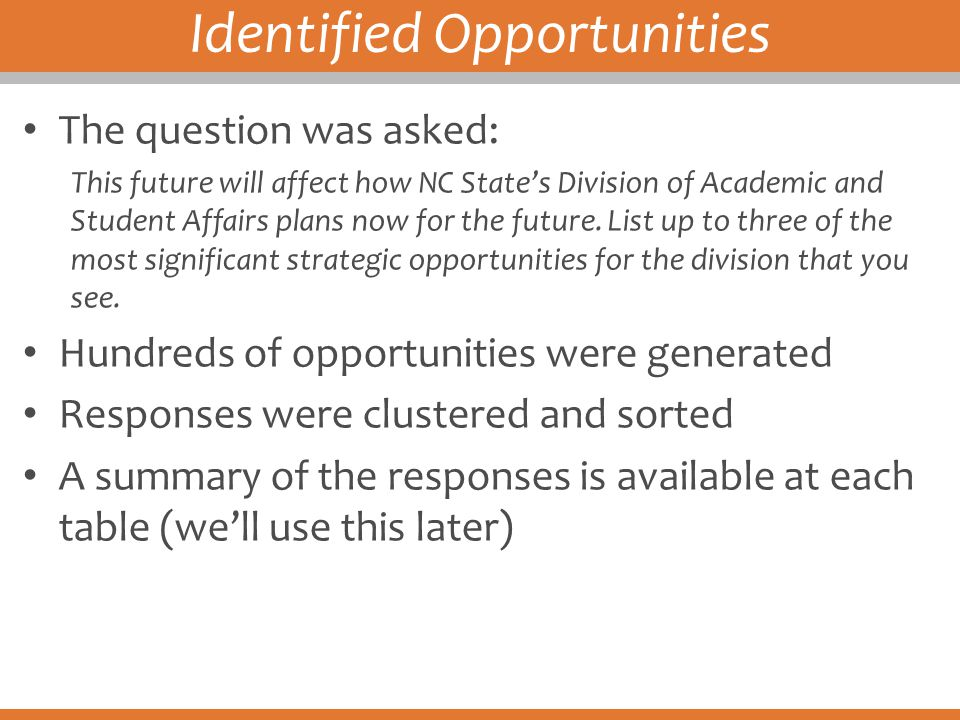 Identified Opportunities The question was asked: This future will affect how NC State's Division of Academic and Student Affairs plans now for the fut