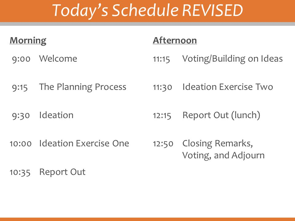 Today's Schedule REVISED Morning 9:00Welcome 9:15The Planning Process 9:30Ideation 10:00Ideation Exercise One 10:35Report Out Afternoon 11:15Voting/Bu