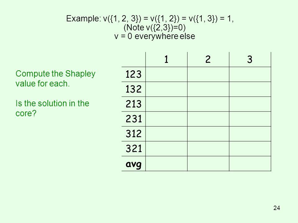 24 Example: v({1, 2, 3}) = v({1, 2}) = v({1, 3}) = 1, (Note v({2,3})=0) v = 0 everywhere else 123 123 132 213 231 312 321 avg Compute the Shapley valu
