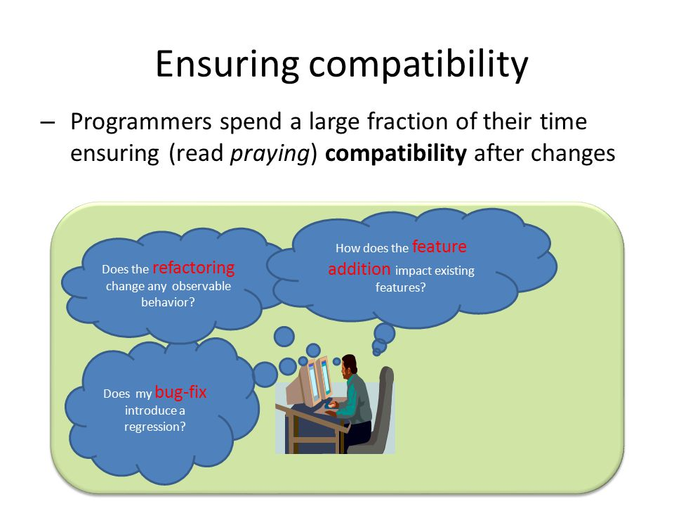 Ensuring compatibility – Programmers spend a large fraction of their time ensuring (read praying) compatibility after changes Microsoft Confidential Does my bug-fix introduce a regression.