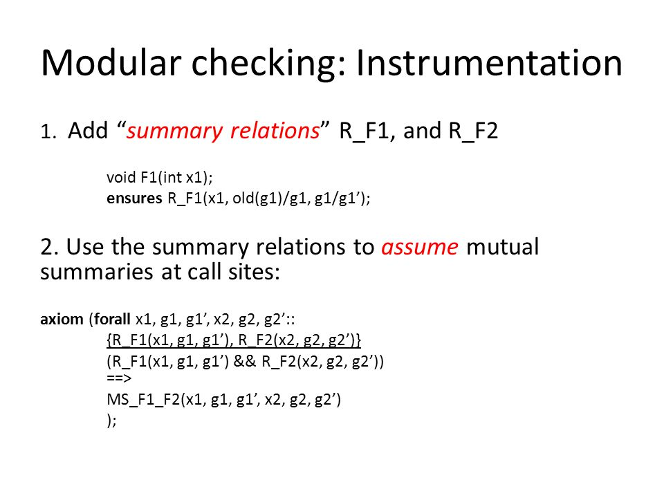 Modular checking: Instrumentation 1.