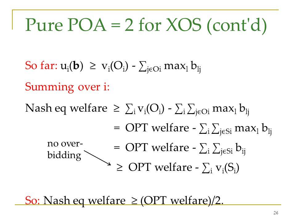 26 Pure POA = 2 for XOS (cont d) So far: u i (b) ≥ v i (O i ) - ∑ jєOi max l b lj Summing over i: Nash eq welfare ≥ ∑ i v i (O i ) - ∑ i ∑ jєOi max l b lj = OPT welfare - ∑ i ∑ jєSi max l b lj = OPT welfare - ∑ i ∑ jєSi b ij ≥ OPT welfare - ∑ i v i (S i ) So: Nash eq welfare ≥ (OPT welfare)/2.