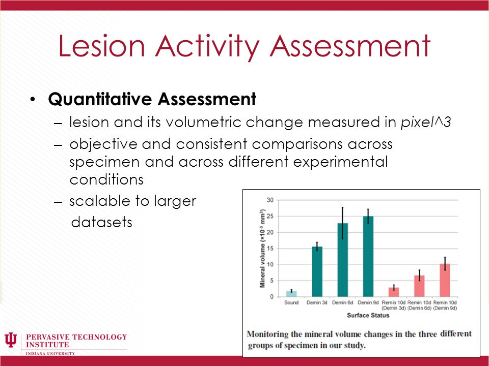 Lesion Activity Assessment Quantitative Assessment – lesion and its volumetric change measured in pixel^3 – objective and consistent comparisons across specimen and across different experimental conditions – scalable to larger datasets