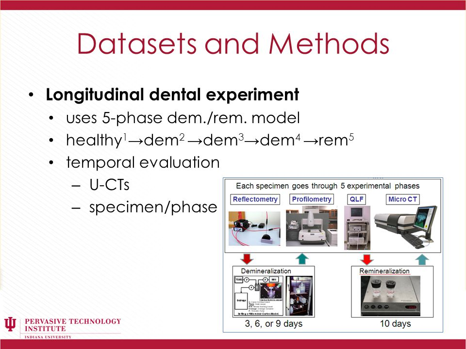 Datasets and Methods µ-CT Dental Scans – ~1000 scans per specimen per time point – each u-CT scan 16-bit gray-scale image 1548×1120 resolution ~1.65 MB size lesion on u-CT scan shows observable gray-scale difference