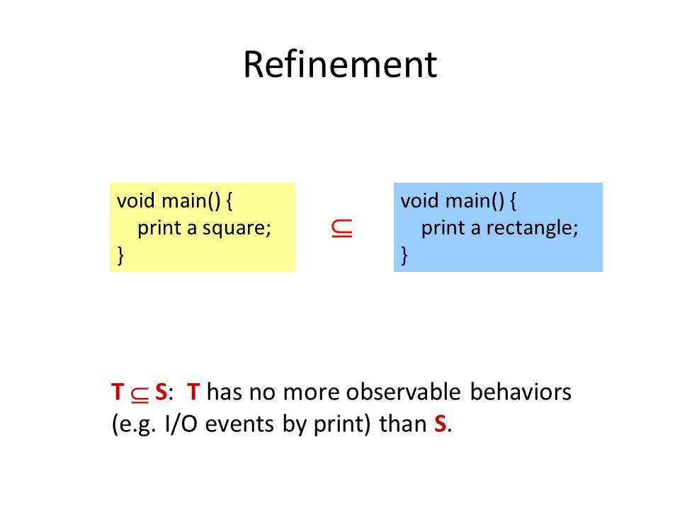 Refinement void main() { print a rectangle; } void main() { print a square; }  T  S: T has no more observable behaviors (e.g.