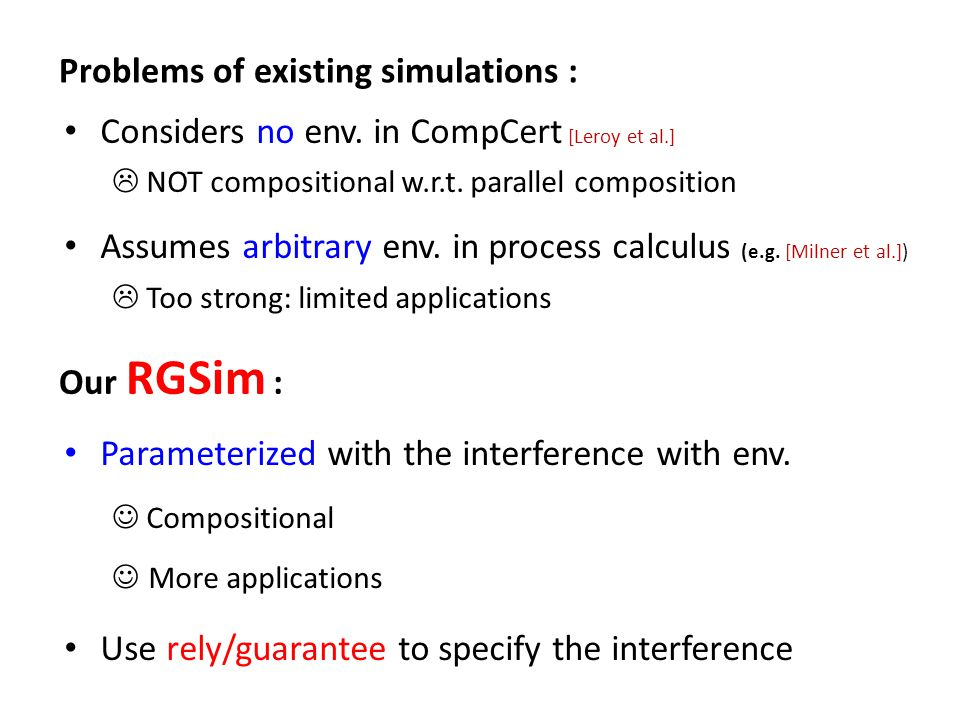 Problems of existing simulations : Our RGSim : Considers no env. in CompCert [Leroy et al.]  NOT compositional w.r.t. parallel composition Assumes ar