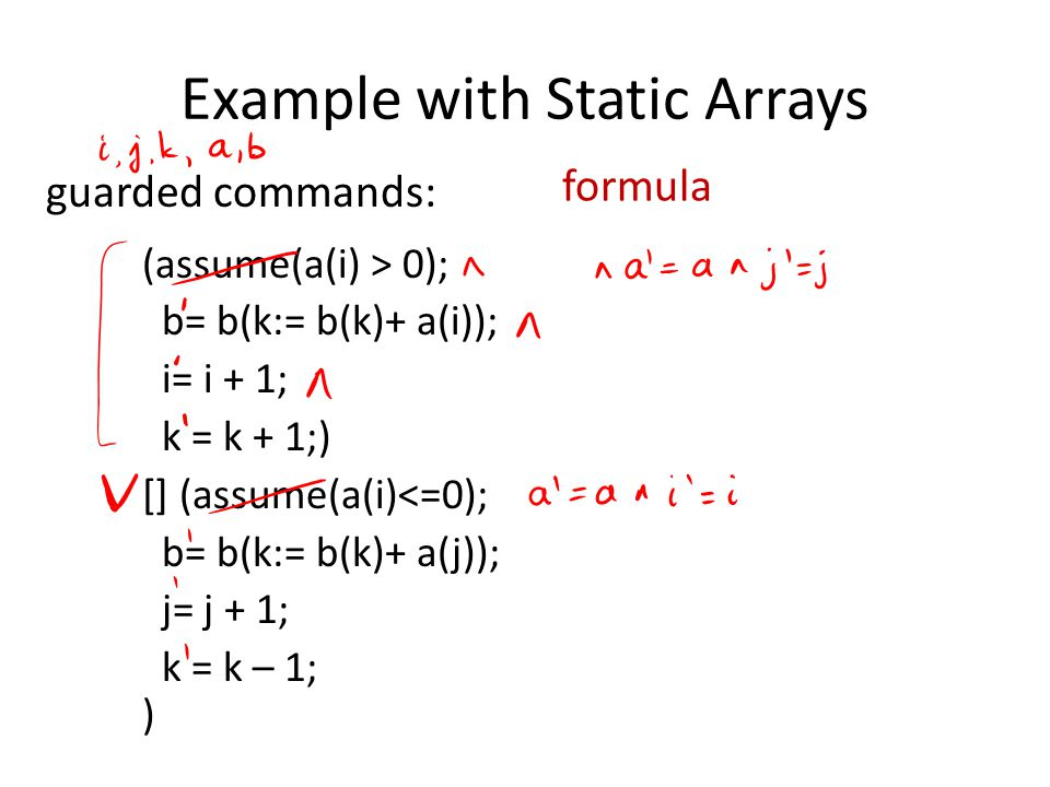 Example with Static Arrays (assume(a(i) > 0); b= b(k:= b(k)+ a(i)); i= i + 1; k = k + 1;) [] (assume(a(i)<=0); b= b(k:= b(k)+ a(j)); j= j + 1; k = k – 1; ) guarded commands: formula