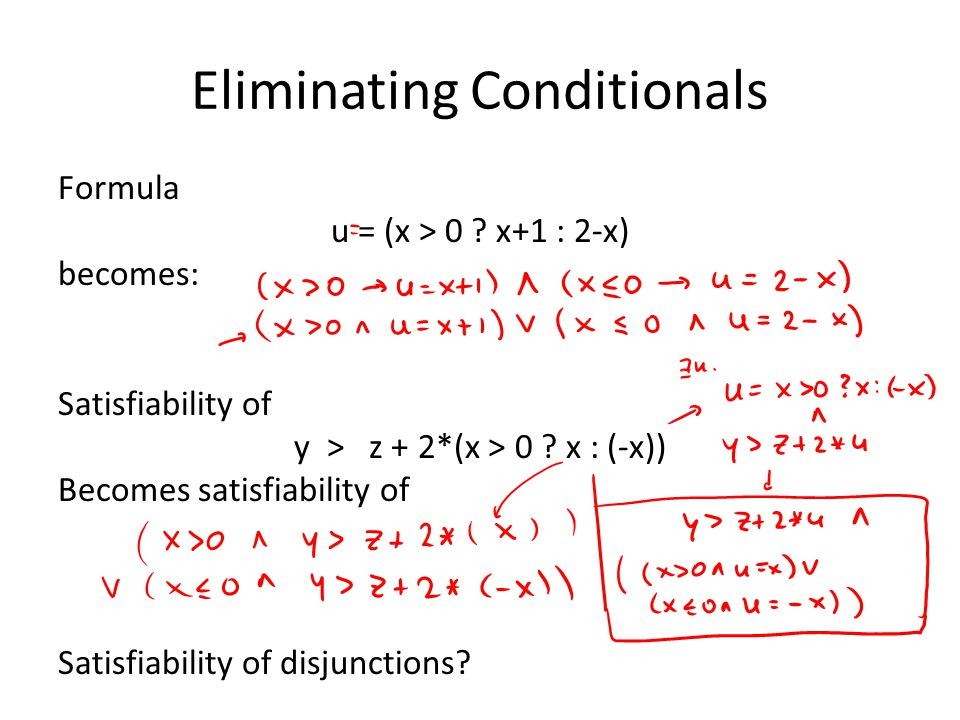 Eliminating Conditionals Formula u = (x > 0 .