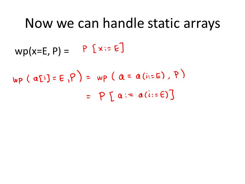 Now we can handle static arrays wp(x=E, P) =