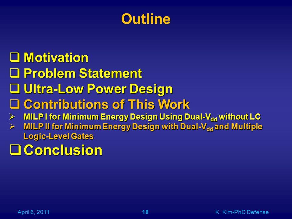 Outline April 6, 2011K. Kim-PhD Defense18  Motivation  Problem Statement  Ultra-Low Power Design  Contributions of This Work  MILP I for Minimum