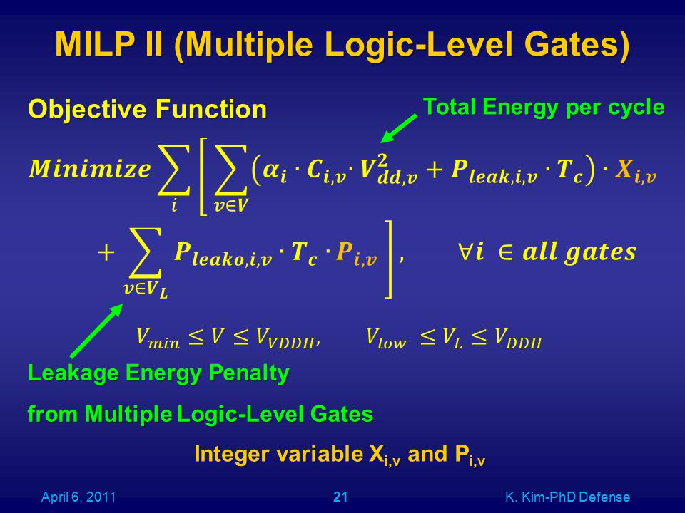 MILP II (Multiple Logic-Level Gates) Objective Function Integer variable X i,v and P i,v April 6, 2011K. Kim-PhD Defense21 Total Energy per cycle Leak
