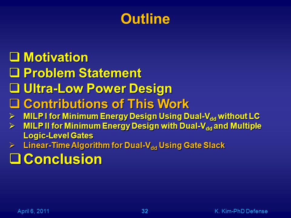 Outline April 6, 2011K. Kim-PhD Defense32  Motivation  Problem Statement  Ultra-Low Power Design  Contributions of This Work  MILP I for Minimum
