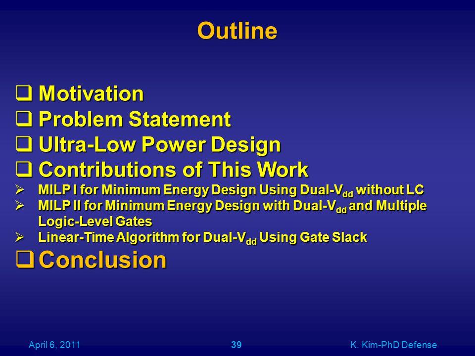 Outline April 6, 2011K. Kim-PhD Defense39  Motivation  Problem Statement  Ultra-Low Power Design  Contributions of This Work  MILP I for Minimum