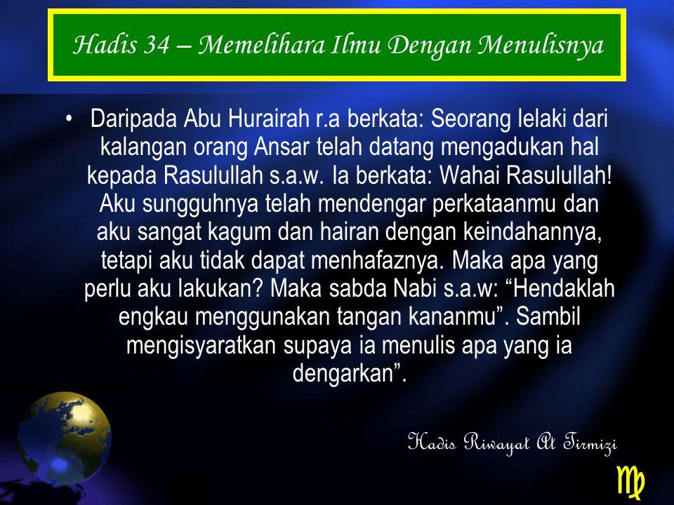 Hadis 34 – Memelihara Ilmu Dengan Menulisnya Daripada Abu Hurairah r.a berkata: Seorang lelaki dari kalangan orang Ansar telah datang mengadukan hal kepada Rasulullah s.a.w.