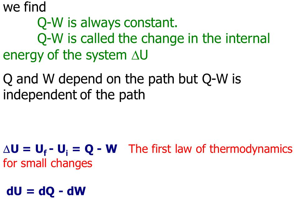 we find Q-W is always constant. Q-W is called the change in the internal energy of the system  U Q and W depend on the path but Q-W is independent of