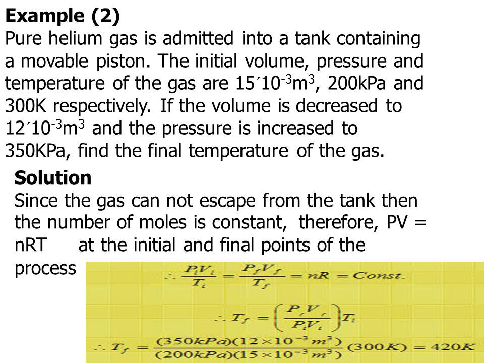 Exercise Pure helium gas is admitted into a leak-proof cylinder containing a movable piston.