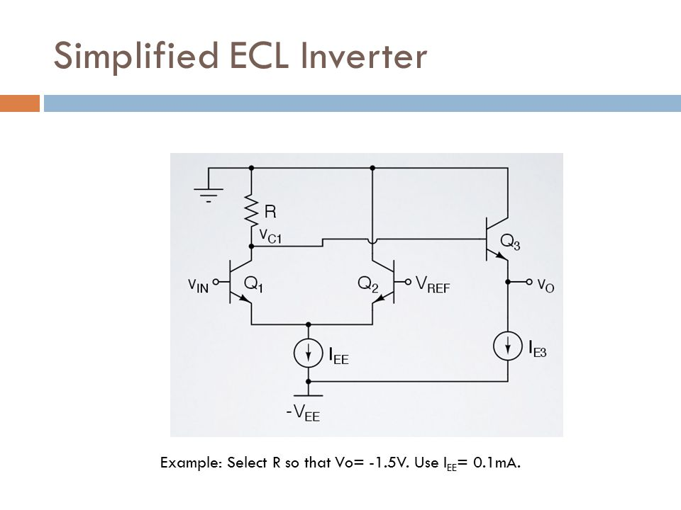 Simplified ECL Inverter Example: Select R so that Vo= -1.5V. Use I EE = 0.1mA.