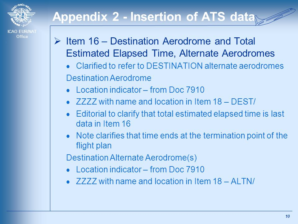 ICAO EUR/NAT Office Appendix 2 - Insertion of ATS data  Item 16 – Destination Aerodrome and Total Estimated Elapsed Time, Alternate Aerodromes  Clar
