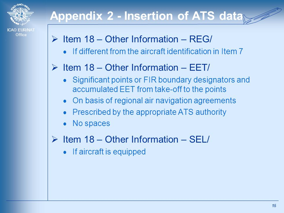 ICAO EUR/NAT Office Appendix 2 - Insertion of ATS data  Item 18 – Other Information – REG/  If different from the aircraft identification in Item 7