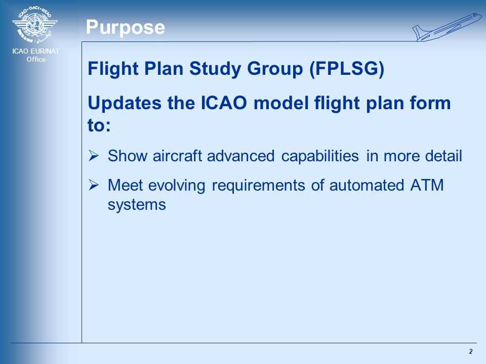 ICAO EUR/NAT Office Purpose Flight Plan Study Group (FPLSG) Updates the ICAO model flight plan form to:  Show aircraft advanced capabilities in more