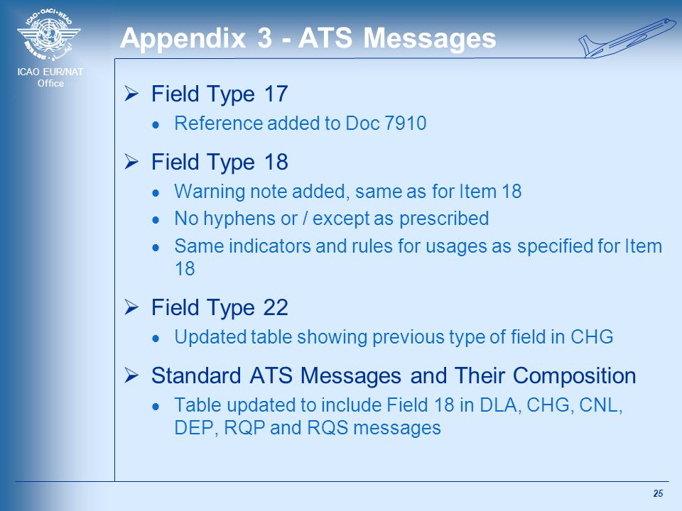 ICAO EUR/NAT Office Appendix 3 - ATS Messages  Field Type 17  Reference added to Doc 7910  Field Type 18  Warning note added, same as for Item 18