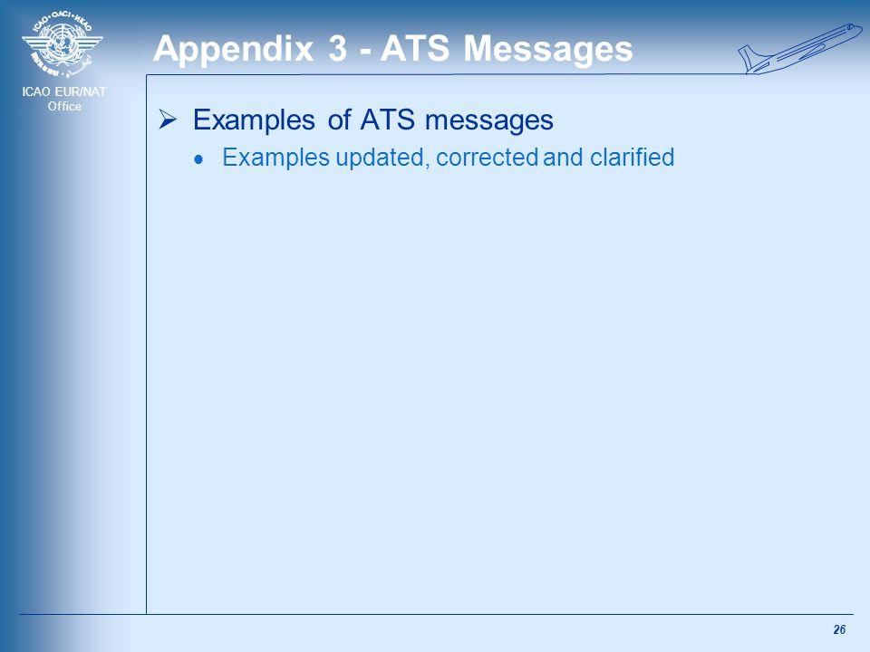 ICAO EUR/NAT Office Appendix 3 - ATS Messages  Examples of ATS messages  Examples updated, corrected and clarified 26