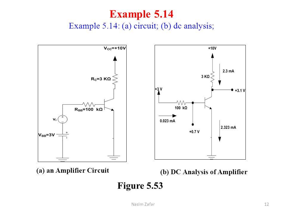 Example 5.14 Example 5.14: (a) circuit; (b) dc analysis; (a) an Amplifier Circuit (b) DC Analysis of Amplifier Figure 5.53 12Nasim Zafar