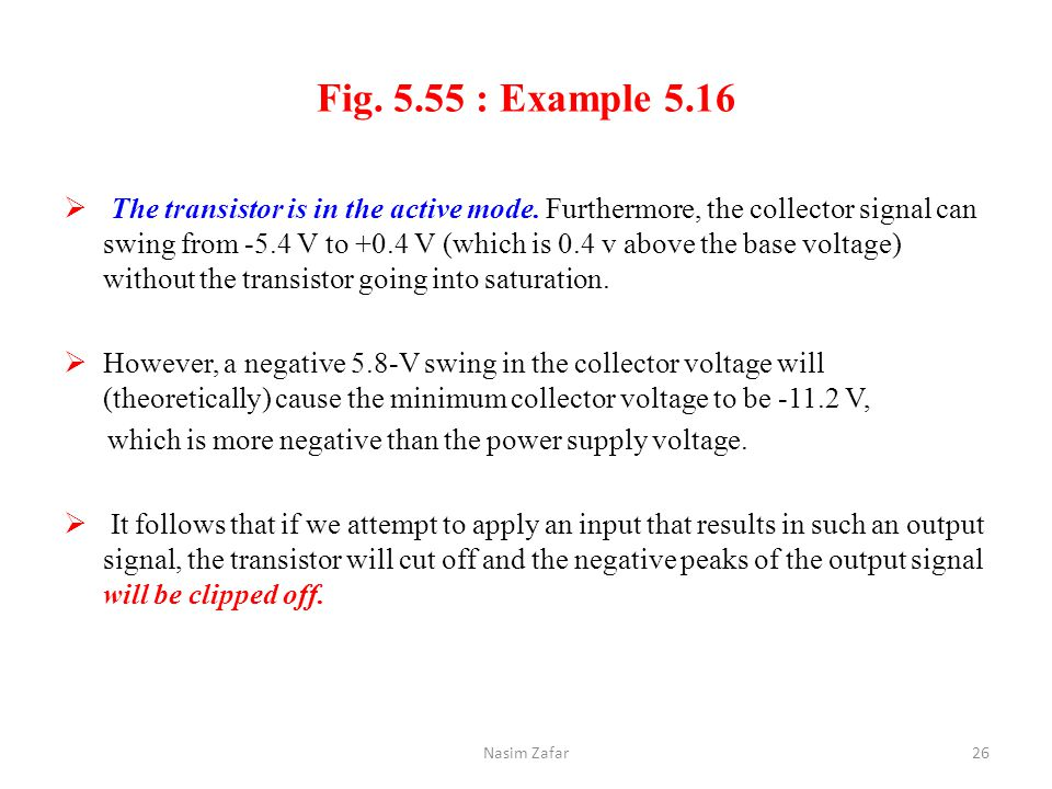 Fig. 5.55 : Example 5.16  The transistor is in the active mode. Furthermore, the collector signal can swing from -5.4 V to +0.4 V (which is 0.4 v abo