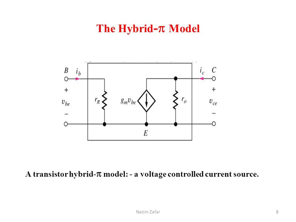 The Hybrid -   Model A transistor hybrid-  model: - a voltage controlled current source. 8Nasim Zafar