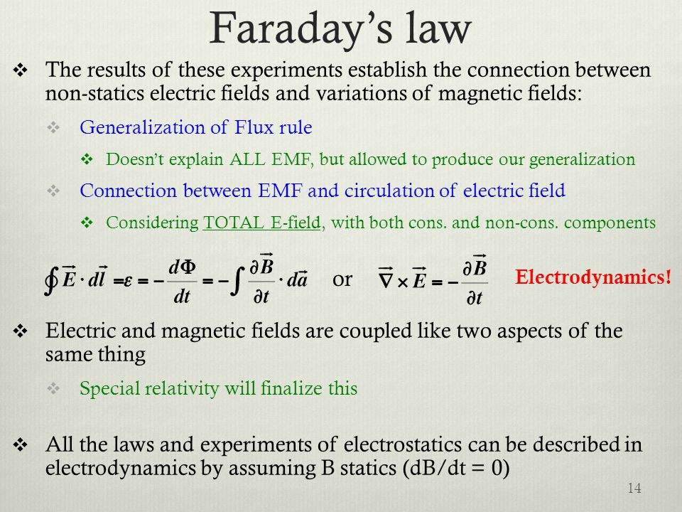 Faraday's law  The results of these experiments establish the connection between non-statics electric fields and variations of magnetic fields:  Gen